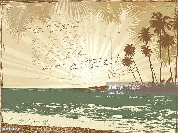 Retro Postkarte, Palmen, Meer, doodle Poesie