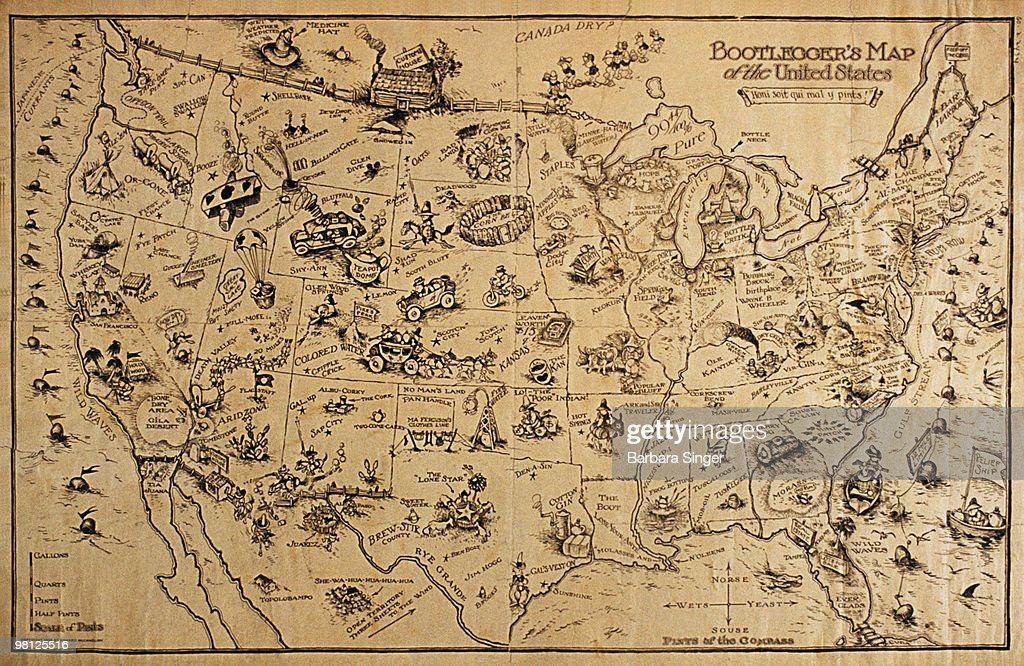 Vintage poster of bootlegging map of the United States : Stock Illustration