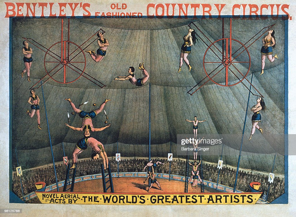 Vintage poster of circus acrobats performing : Stock Illustration