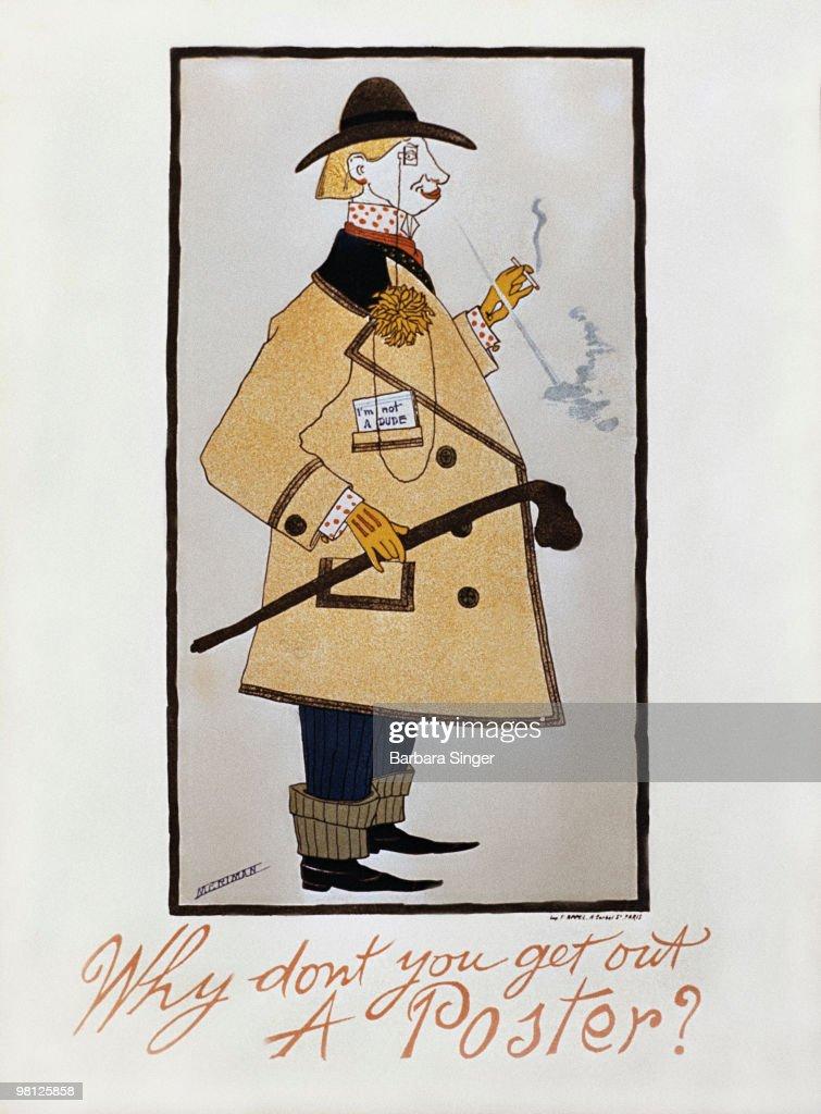 Vintage poster of elegant man standing in profile : Stock Illustration