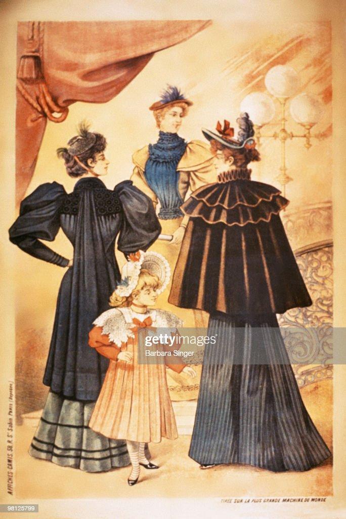 Vintage poster of elegant women at the theater : Stock Illustration