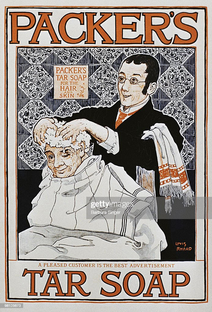 Vintage poster of man getting hair washed by barber : Stock Illustration