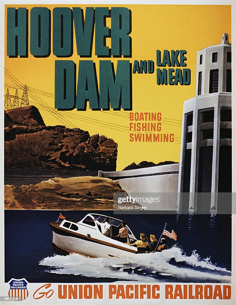 Vintage poster of people on speedboat in Lake Mead near Hoover Dam : Stock Illustration