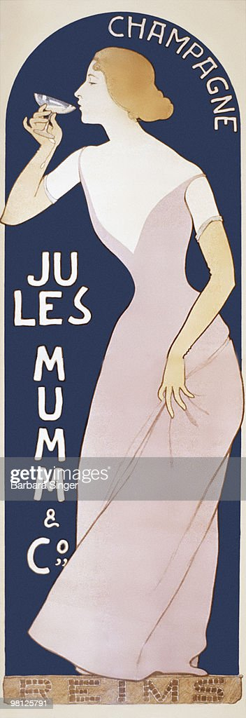 Vintage poster of woman drinking glass of champagne : Stock Illustration