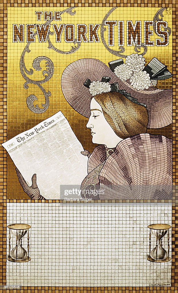 Vintage poster of woman reading newspaper : Stock Illustration
