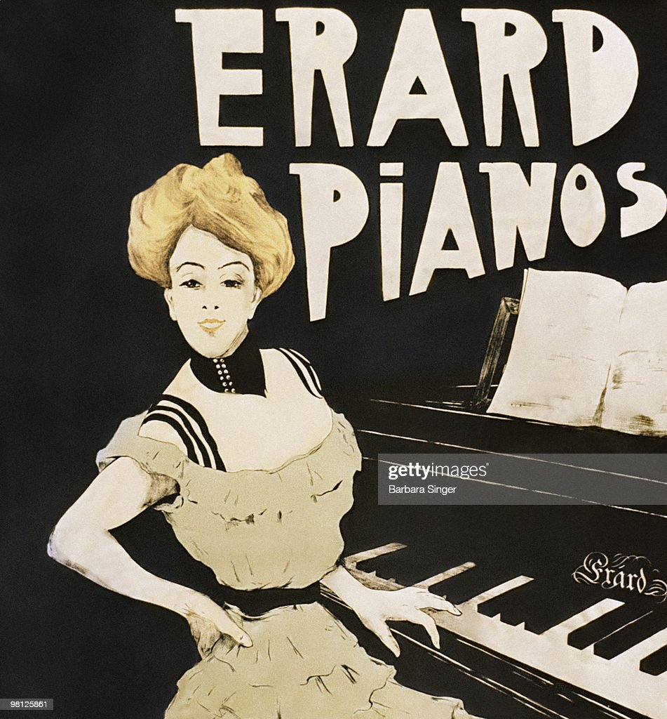 Vintage poster of woman sitting at piano : Stock Illustration