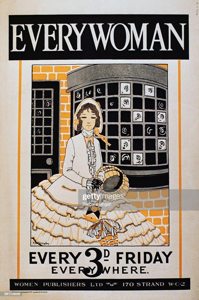 Vintage poster with elegant Victorian woman : Stock Illustration