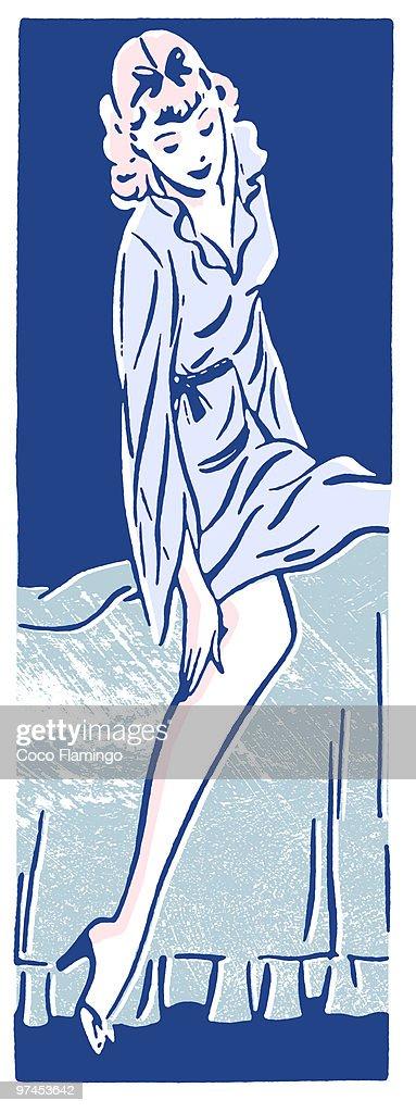 A vintage style portrait of a woman : Stock Illustration
