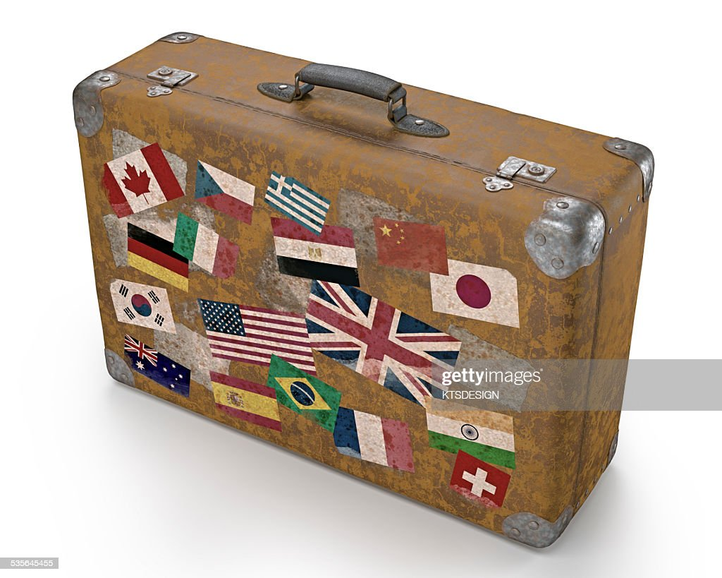 Vintage Suitcase With Stickers Stock Illustration Getty
