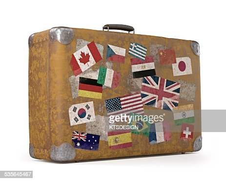 Vintage Suitcase With Stickers Stock Illustration | Getty Images