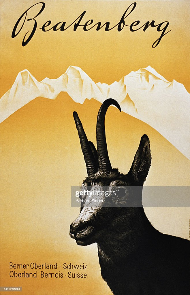 Vintage travel poster with mountain goat in the Alps : Stock Illustration