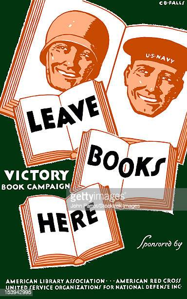 Vintage WPA poster of several books and the faces of a soldier and a sailor.