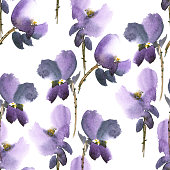 Watercolor and ink illustration of violet  flowers in style sumi-e, u-sin, gohua. Oriental traditional painting.  Seamless pattern.