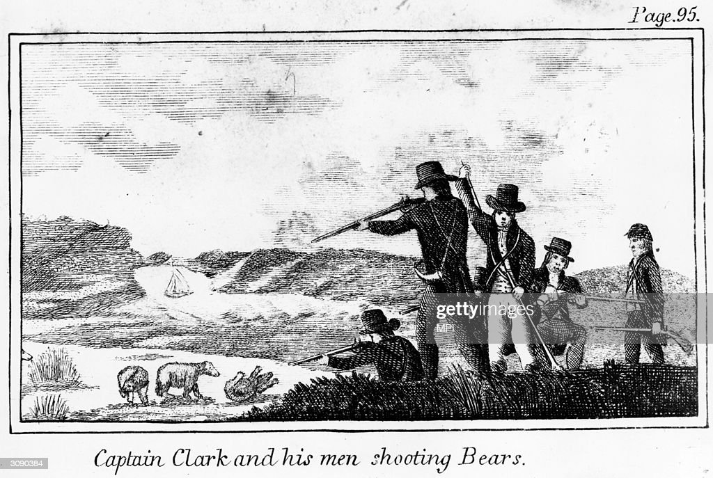 Virginian explorer William Clark and his men shooting bears.