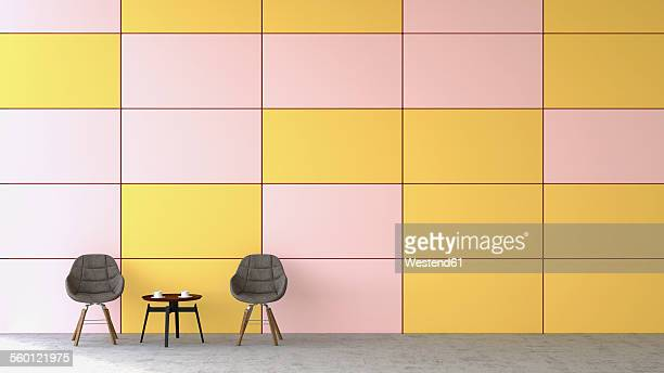Waiting area with two chairs and a side table in front of coloured wall, 3D Rendering