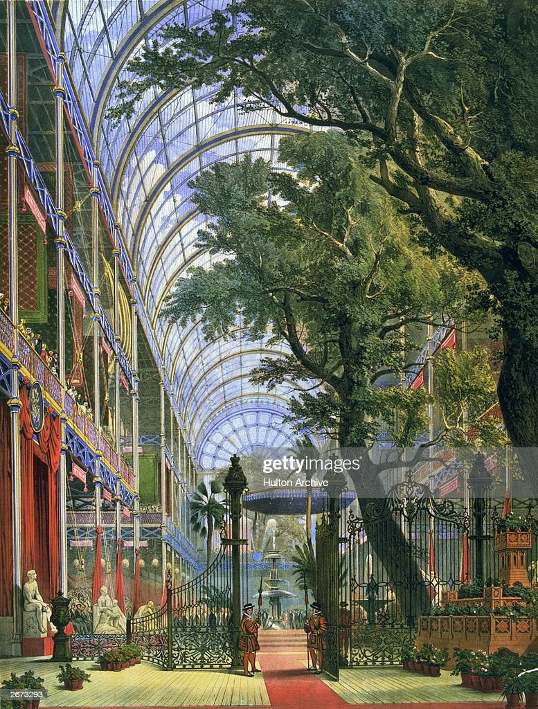 Waiting for Queen Victoria to arrive at the Great Exhibition in Crystal Palace The glass and iron building was designed by Joseph Paxton and...