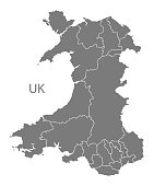 Wales Map with regions in grey