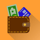 Wallet icon with card and cash in color isolated on orange background . Money case cash shopping.  Illustration