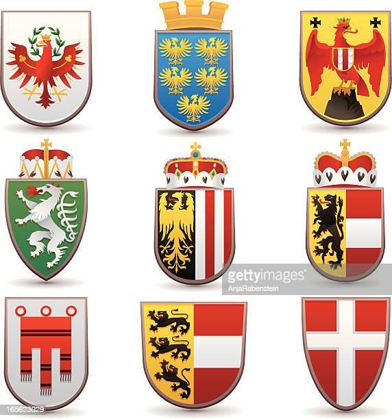 Wappen der Bundeslaender von Oesterreich  Wien, Tirol, Niederoesterreich,  Salzburg, Oberoesterreich