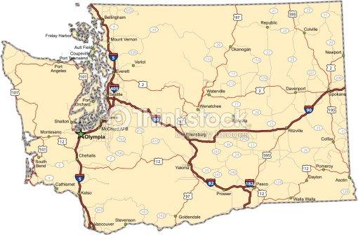 Washington Highway Map Vector Art Thinkstock