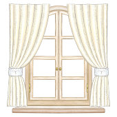 Classic wooden arch window with bronze fittings, yellow curtains and window sill isolated on white background. Watercolor and lead pencil graphic hand drawn illustration