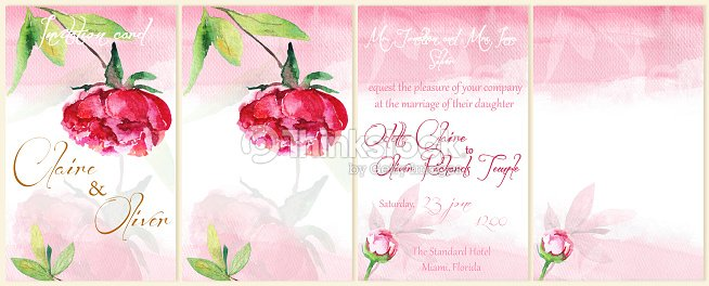watercolor background for flyers invitations with peony stock