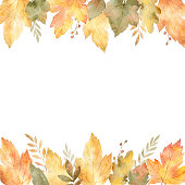Watercolor banner of leaves and branches isolated on white background. Autumn illustration for greeting cards, wedding invitations, quote and decorations.