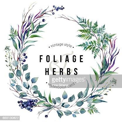 Watercolor Boho Foliafe Wreath : Stock Illustration