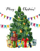 Watercolor card with Christmas tree, presents and flag garlands. Hand painted gift boxes with bows, pine tree with Christmas toys isolated on white background. Holiday illustartion for design, print.