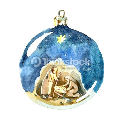 watercolor christmas ball christmas decorations holy family joseph mary and newborn jesus drawing in christmas ball