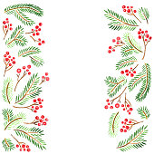 Watercolor Christmas decoration template with fir tree branches and holly berries