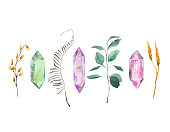 Watercolor collection with abstract leaves and crystal gems isolated on white background