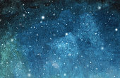 Abstract galaxy painting. Watercolor Cosmic texture with stars. Night sky. Milky way deep interstellar. White stars splash. Colorful art space.
