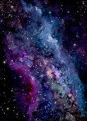 Watercolor Dark Nebula in Outer Space. Abstract Background