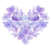 Watercolor Floral Heart in Violet Colors. Valentine's Day Card Template