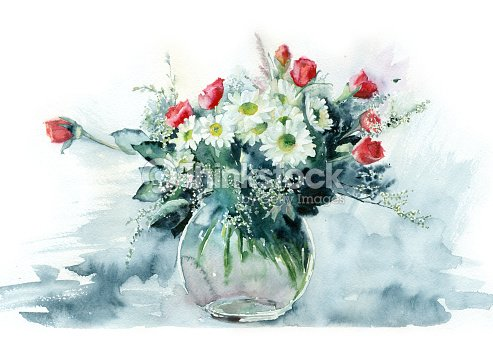 Watercolor Flowers In A Glass Vase Stock Illustration Thinkstock