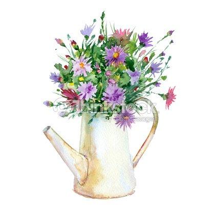 Watercolor Flowers In Vase Stock Illustration Thinkstock