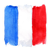Watercolor France French flag 3 three color isolated.