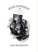 Watercolor hand drawn black  boxing gloves illustration isoltaed on white background