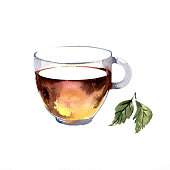 Watercolor hand drawn cup of tea with green leaves.