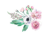 Watercolor Hand Drawn Peonies, Roses, Anemonies and Eucalyptus Bouquet. Isolated Hand painted pink flower composition. Watercolor floral arrangtement in soft tones.