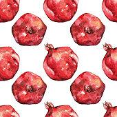 Watercolor hand drawn pomegranate seamless pattern background.