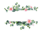 Watercolor hand painted green floral banner with eucalyptus and pink flowers isolated on white background. Healing Herbs for cards, wedding invitation, posters, save the date or greeting design.