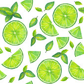 Watercolor hand painted seamless pattern with slices of  lime and mint leaves on white background