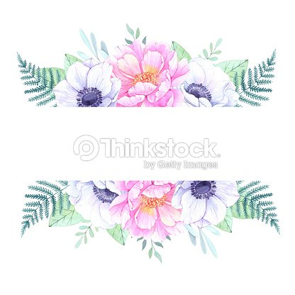 Watercolor illustration floral frame with peonies and anemones watercolor illustration floral frame with peonies and anemones wedding invitation greeting card with stopboris Image collections