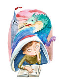 Watercolor illustration isolated on white background. The boy with book dreaming about a big dragon