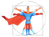 Watercolor illustration. Superhero in mask is body standart. The man inscribed in a circle and square. Superhero as Vitruvian Man