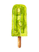 Watercolor kiwi fruit popsicle isolated on white background. Hand drawn illustration.