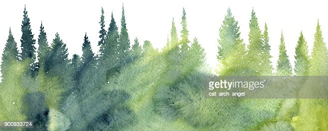 watercolor landscape with trees : stock illustration