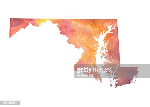 Baltimore Maryland Vector Watercolor Map Vector Art Getty Images - Maryland on the us map